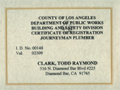 LA County, Los Angeles Plumber Journeyman certificate registration plumbing service